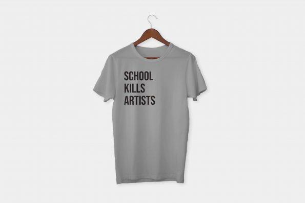 school kills artists t-shirt grey
