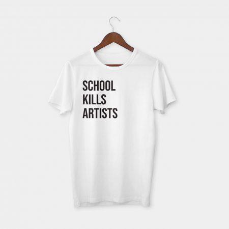 school kills artists t-shirt white