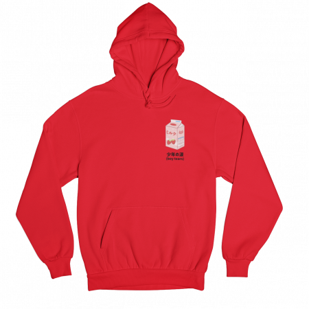 Boy Tears Tetra Pack Red Gender Neutral Hoodie