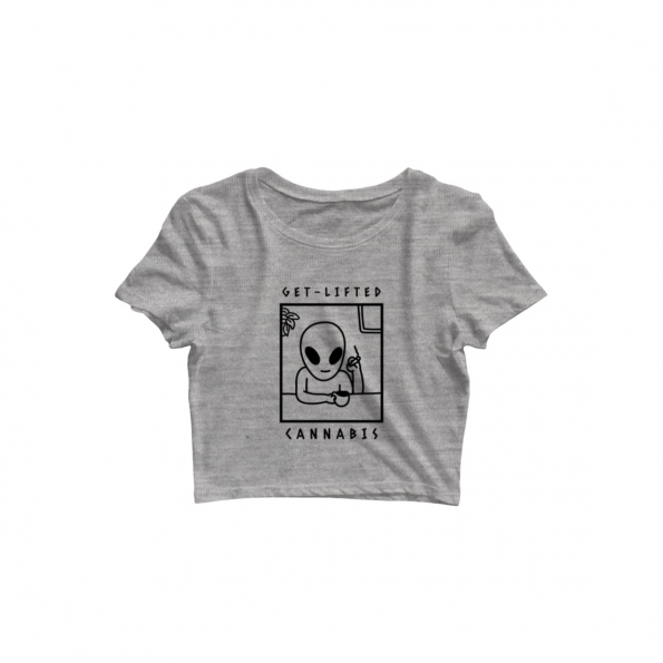 alien cannabis crop top grey
