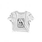 alien cannabis crop top white