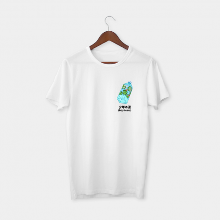 boy tears plastic bottle white tee
