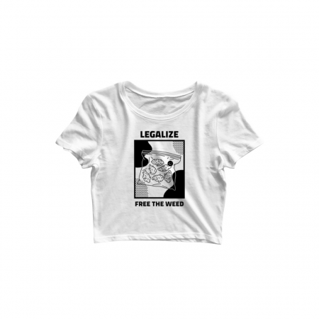 legalise weed crop top white
