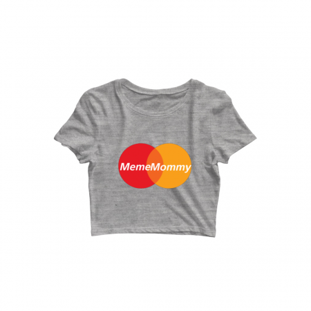 meme mommy crop top grey