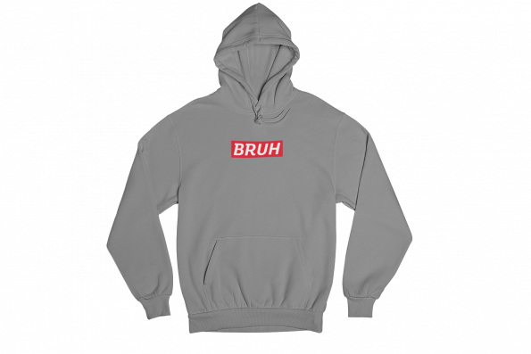 Bruh Supreme Grey Gender Neutral Hoodie