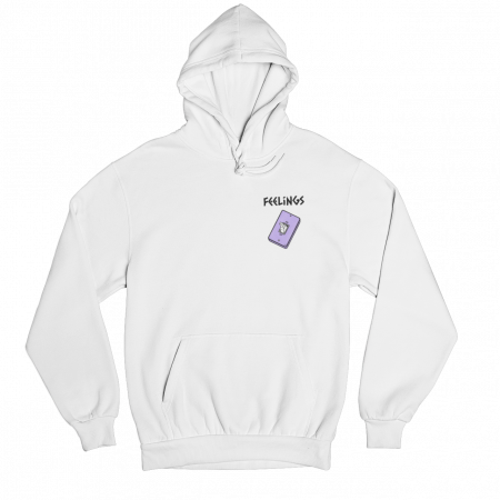 Feelings White Gender Neutral Hoodie