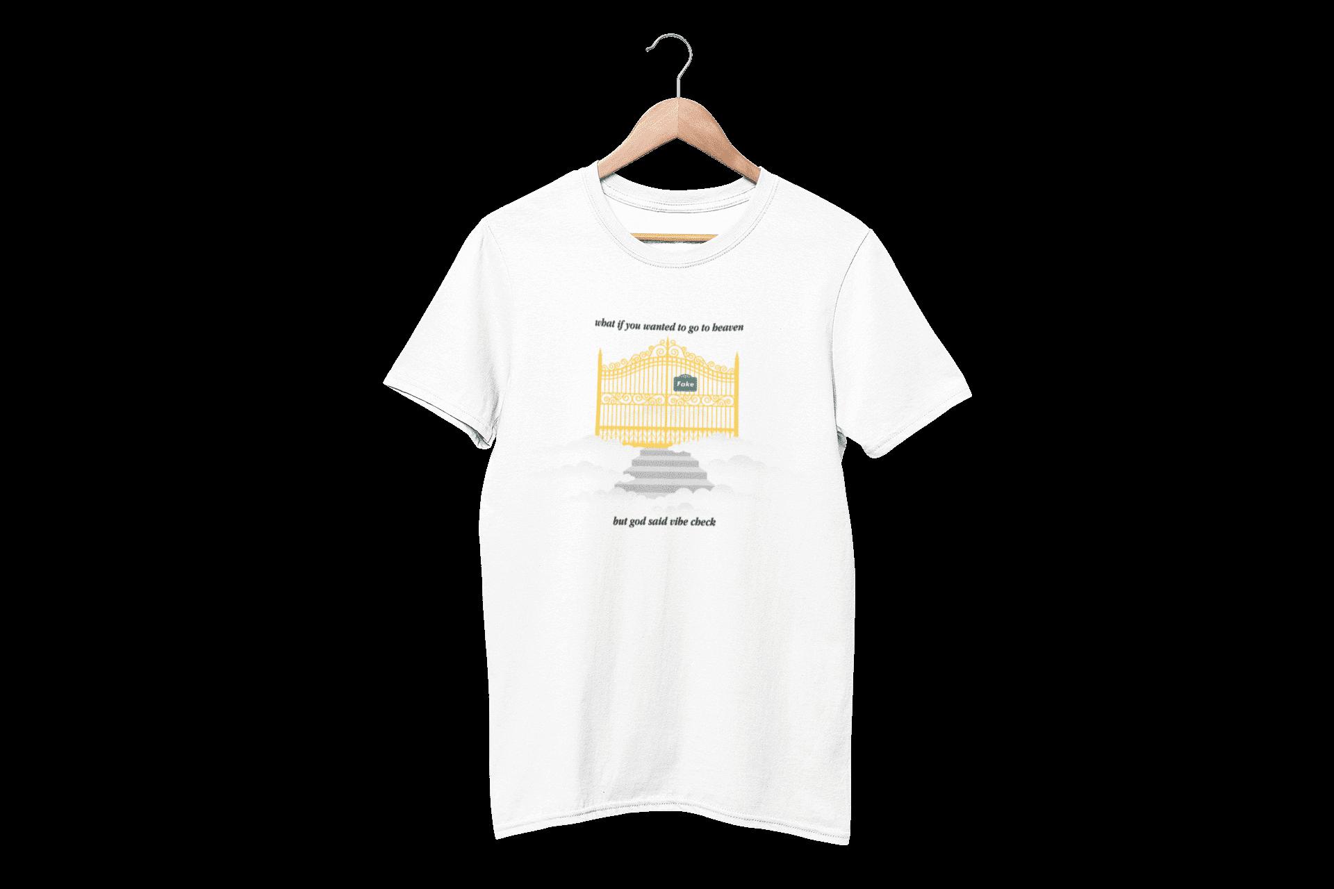 God Said Vibe Check White Half Sleeve T-Shirt