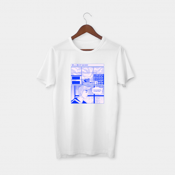 Sad Boy White Half Sleeve T-Shirt