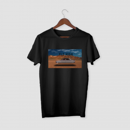 FLY HIGH Black Half Sleeve T-Shirt