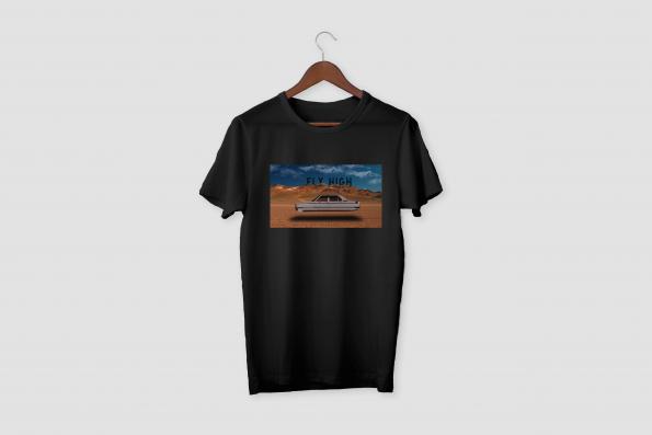 FLY HIGH Black Half Sleeve T-Shirt
