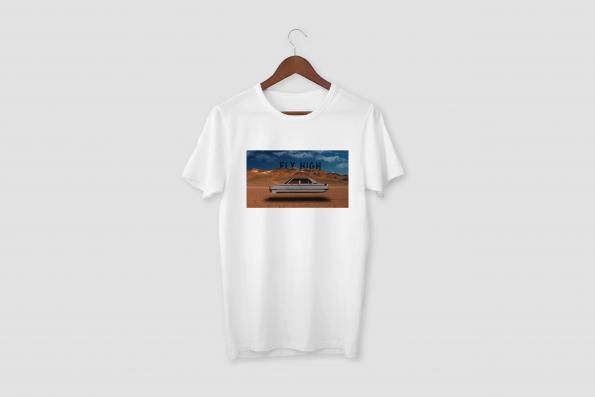 FLY HIGH White Half Sleeve T-shirt