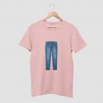 Jeans White Half T-Shirt