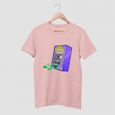 Just Vending Cotton Candy Pink Half Sleeve T-Shirt