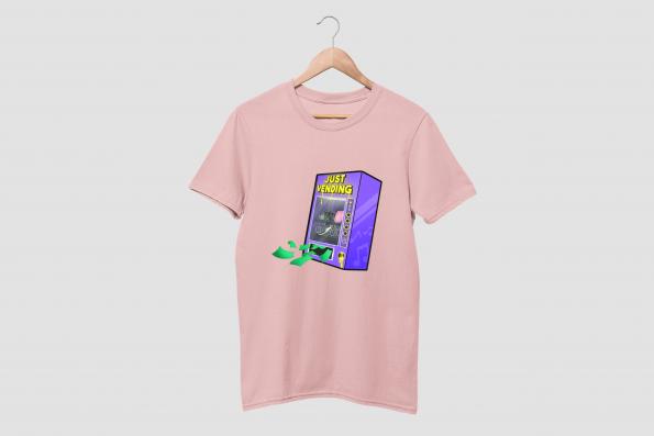 Just Vending Cotton Candy Pink Half Sleeve T-Shirt