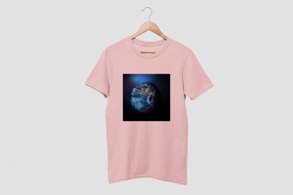 MASKED EARTH Cotton Candy Pink Half Sleeve T-Shirt