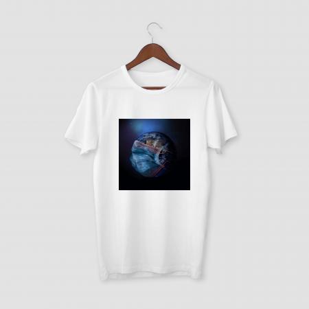 MASKED EARTH White Half Sleeve T-Shirt