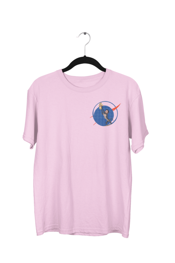 Doge Coin Top Right Cotton Candy Pink Half Sleeve T-Shirt